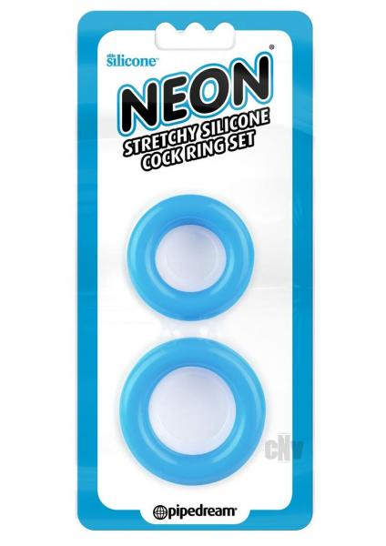 Neon Stretchy Cock Ring Set Blue