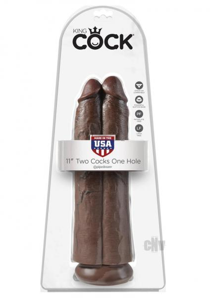 King Cock 11 inches Two Cocks One Hole Brown Dildo