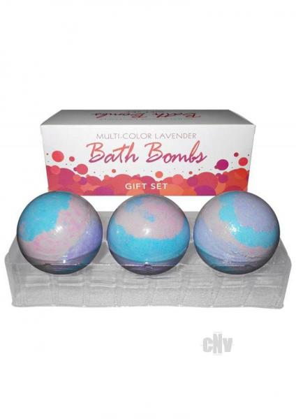 Multi Color Bath Bombs Lavender Gift Set 3 Pack