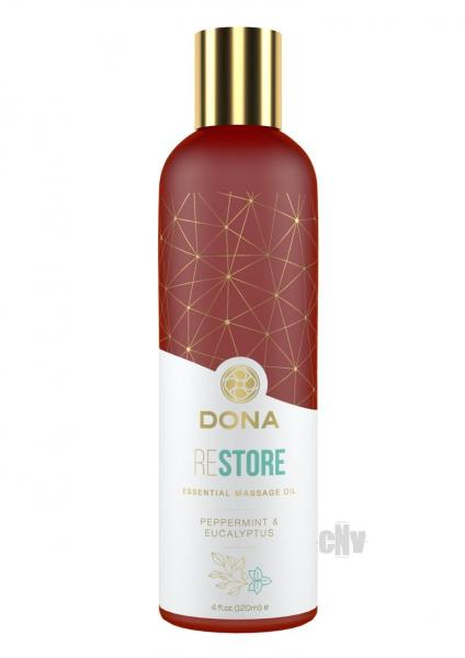 Dona Essential Massage Oil Restore Peppermint & Eucalyptus 4oz