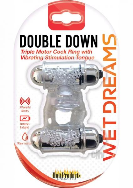 Double Down Vibrating Cock Ring with Tongue Clear