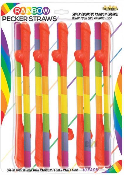 Rainbow Pecker Straws 10 Pack