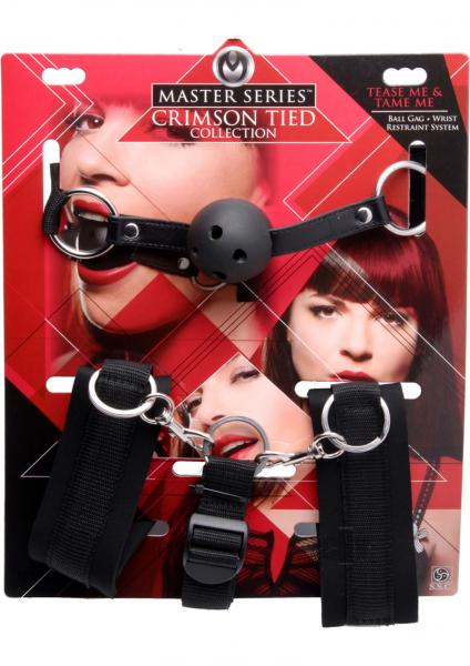Tease Tame Me Ball Gag Wrist Restraint System