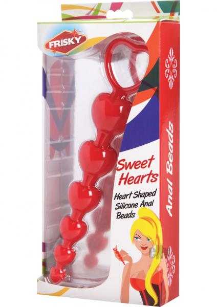 Sweet Hearts Silicone Anal Beads Red