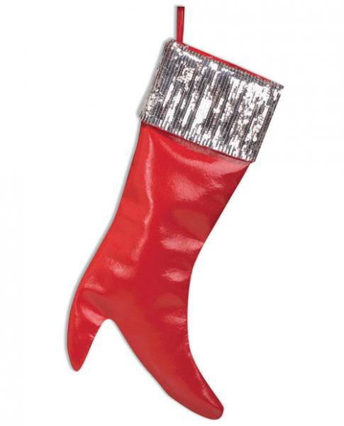 Christmas Stocking Red with Sequin Cuff