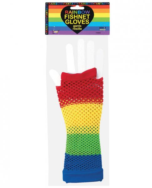 Rainbow Fishnet Gloves O/S