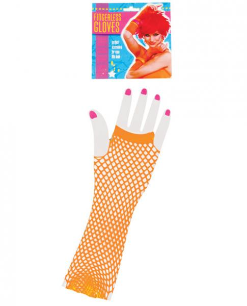 Neon Long Fingerless Fishnet Gloves - Orange