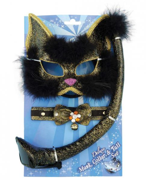 Deluxe Black Cat Mask Set Costume Accessory
