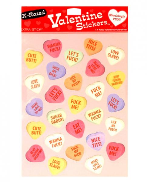 4 X-Rated Valentine Sticker Sheets 27 Stickers Per Sheet