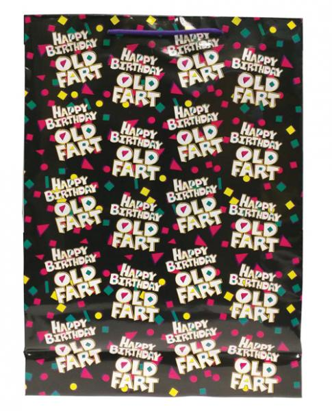 Happy Birthday Old Fart Gift Bag Black