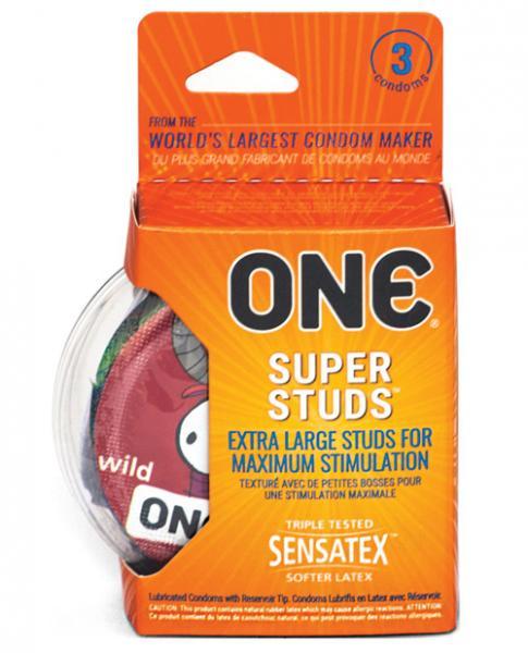 One Super Studs Latex Condoms 3 Pack