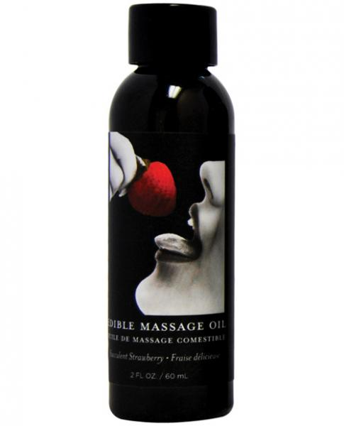 Earthly Body Edible Massage Oil Strawberry 2oz