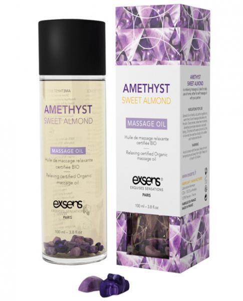 Exsens Of Paris Organic Massage Oil Sweet Almond Amethyst Crystals