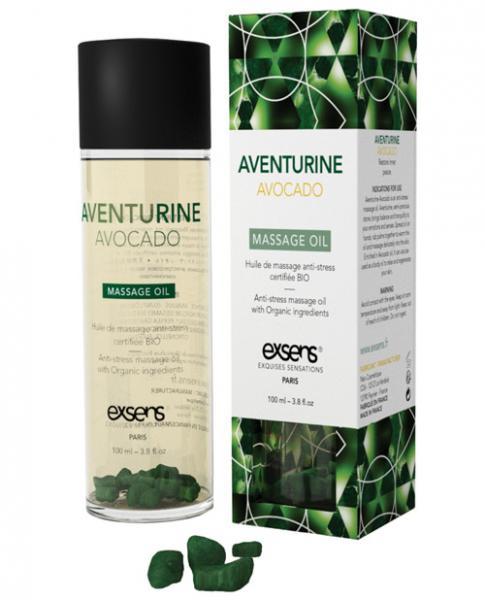 Exsens Organic Aventurine Avocado Massage Oil with Stones 3.8oz