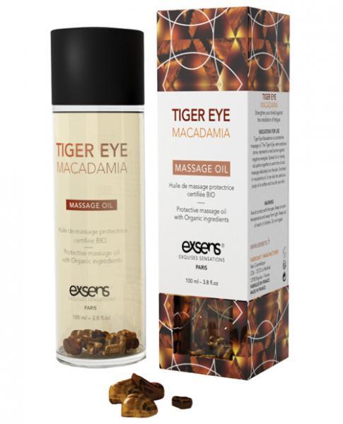 Exsens Organic Massage Oil Macadamia with Tiger Eye Stones 3.8oz