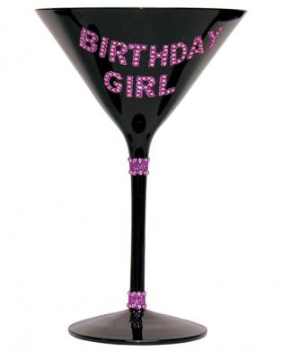 Birthday Girl Martini Glass Black