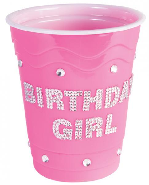 Birthday Girl Plastic Cup with Clear Stones Pink