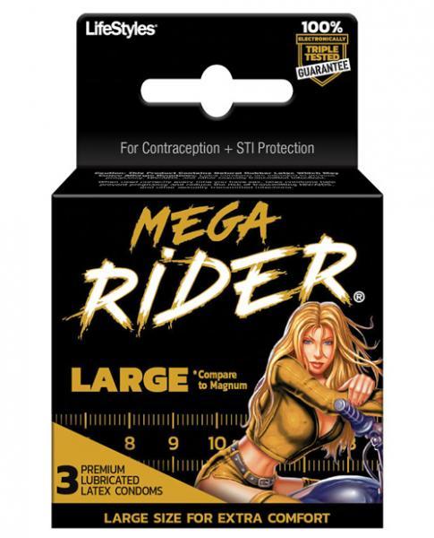 Lifestyles Mega Rider Large Latex Condoms 3 Pack