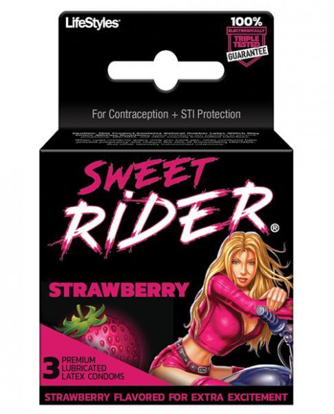 Lifestyles Sweet Rider Condoms Strawberry 3 Pack