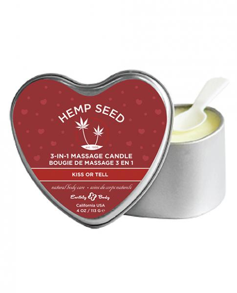 Earthly Body 3 In 1 Massage Heart Kiss Or Tell Candle 4 oz