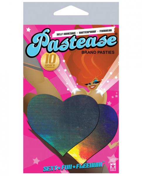 Pastease Hologram Heart Silver Pasties O/S