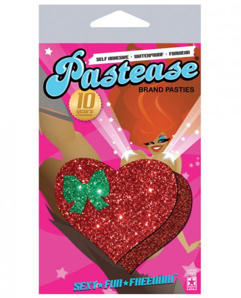 Pastease Glitter Red Heart with Green Bow Pasties