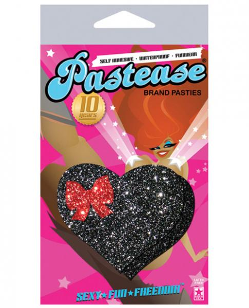 Pastease Black Glitter Heart with Bow O/S