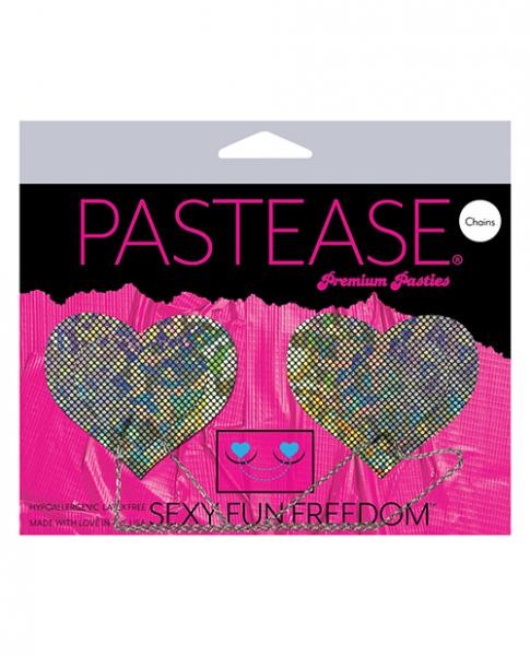 Pastease Chains Disco Heart Pasties Silver O/S
