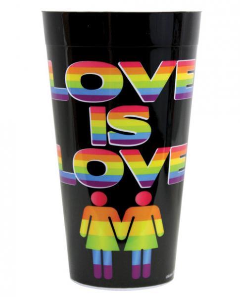 Love Is Love Drinking Cup Plastic Black, Rainbow