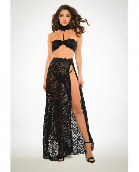 Adore Lace Bandeau Top & Skirt Black Medium