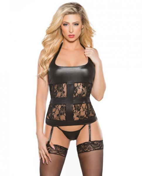 Kitten Halter Lace Wet Look Corset Black O/S