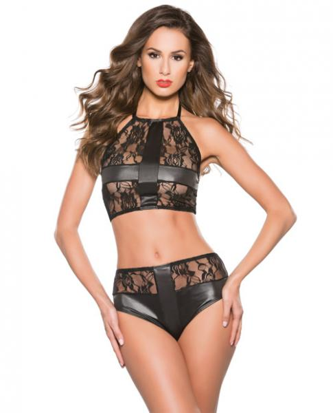 Kitten Lace Wet Look Top & Shorts Set Black O/S