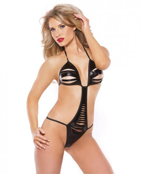 Kitten Wet Look Front Slit Teddy Black O/s
