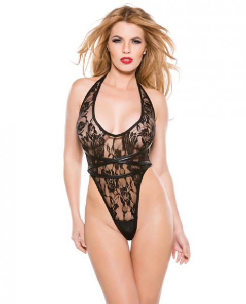 Kitten Lace Wet Look Halter Teddy Black O/S