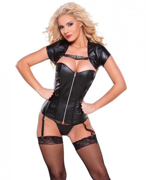 Faux Leather Corset & Bolero Top Silver, Black Sm