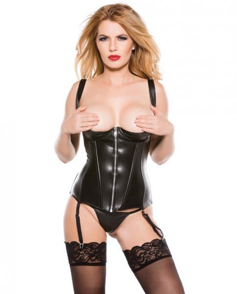 Faux Leather 1/4 Cup Corset Black XL