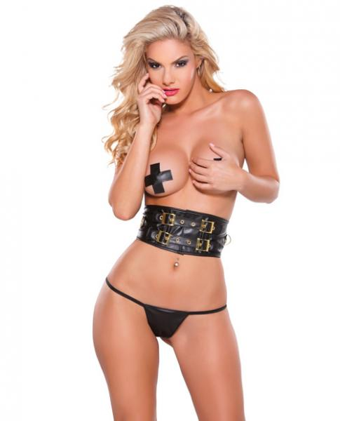 Faux Leather Belt, Pasties & G-String Set Gold Detail Black O/S