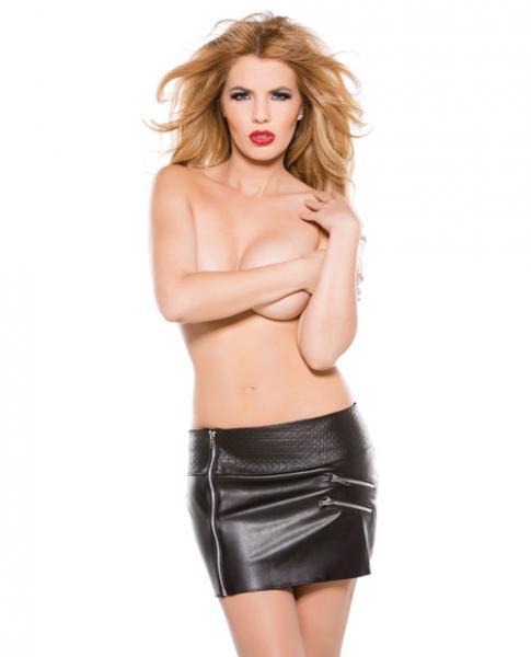 Faux Leather Zipper Skirt Black Large