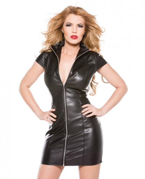 Faux Leather Dress Black Small