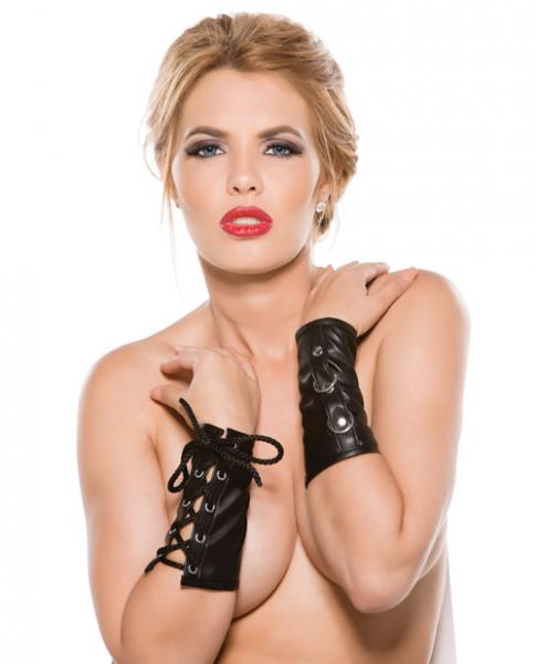 Faux Leather Ring Arm Guards Black O/S