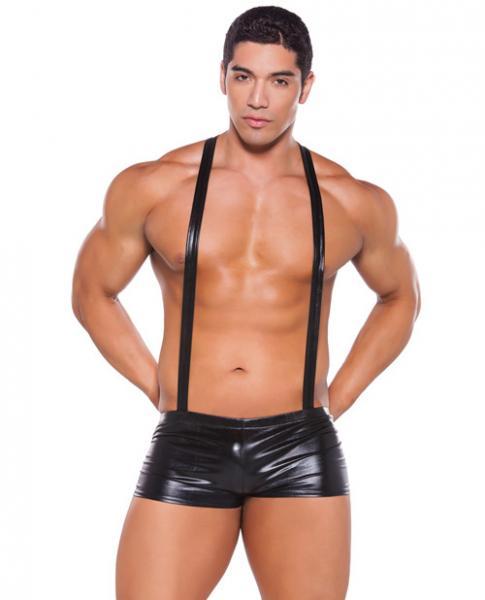 Wet Look Suspender Shorts Black O/S