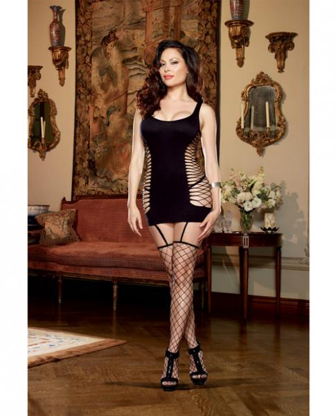 Opaque Garter Dress Attached Thigh Highs Black Qn
