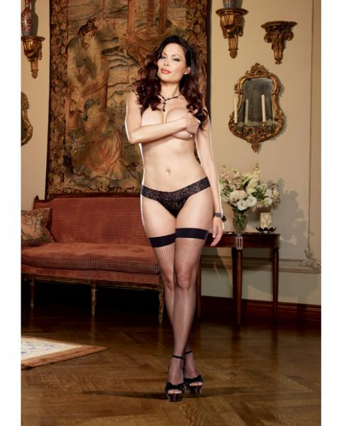 Thigh High Stockings Back Seam, Bow Black Qn