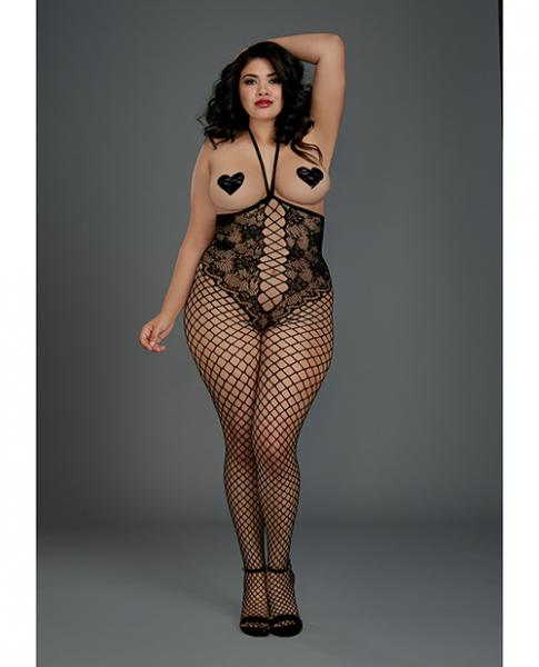 Open Cup Open Crotch Bodystocking Knitted Lace Teddy Black Qn