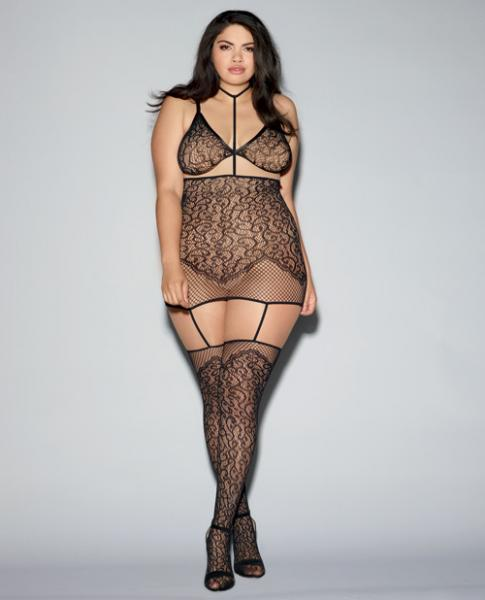 Bralette Garter Dress Collar & Thigh Highs Black Qn