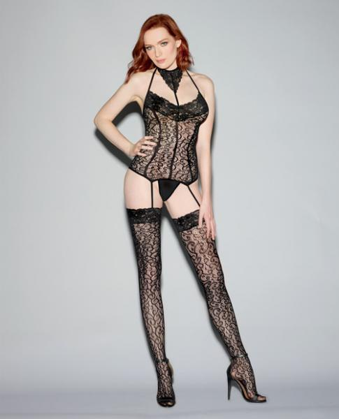 Lace Bustier Bodystocking Corset Bodice Lines & Thigh Highs Black O/S