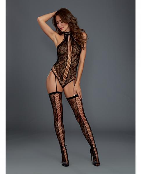 Lace Halter Teddy Bodystocking Garters & Thigh Highs Black O/S