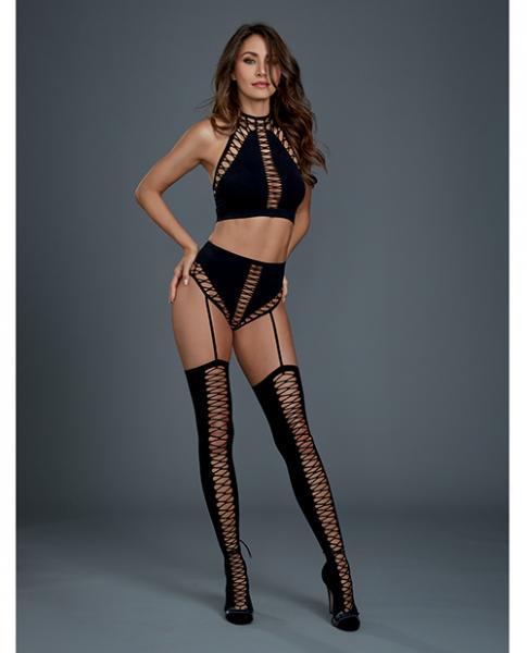 Bralette, High Waist Garter Panty & Thigh Highs Black O/S