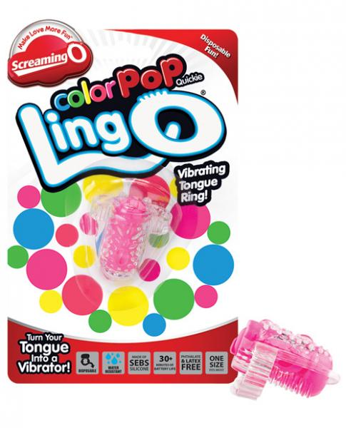 Color Pop Quickie Lingo Vibrating Tongue Ring Pink