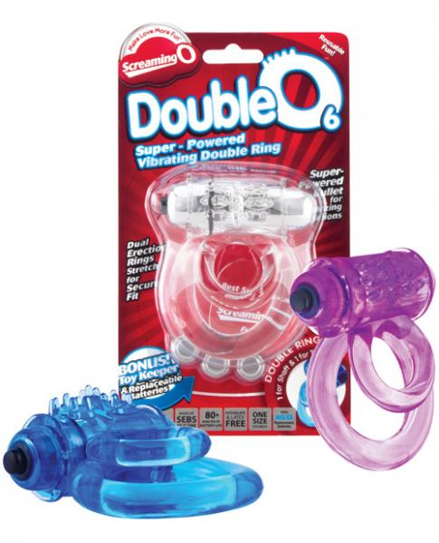 Double O 6 Speed Vibrating Cock Ring Assorted Color